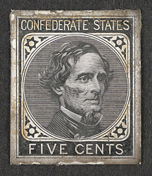 United States - Confederate States: 1862 5 cents proof in black.